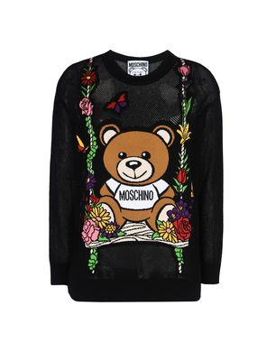 Teddy Intarsia Open-Knit Cotton Sweater, Black