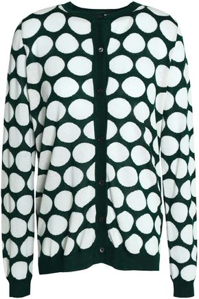 MARNI Cutout printed stretch-knit cardigan