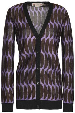 MARNI Metallic intarsia-knit cardigan