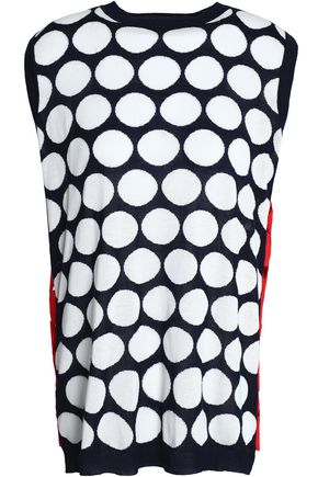 MARNI Guipure lace-paneled intarsia cotton and cashmere-blend top