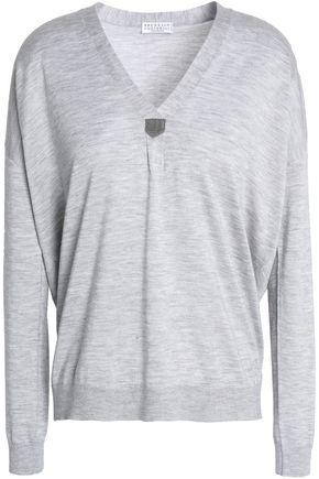 BRUNELLO CUCINELLI Bead-embellished mélange cashmere and silk-blend sweater