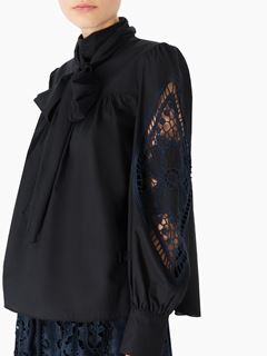 Ascot tie blouse