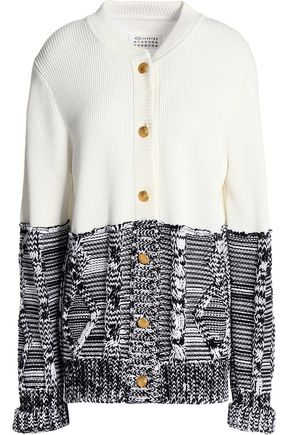MAISON MARGIELA Paneled two-tone cotton cardigan