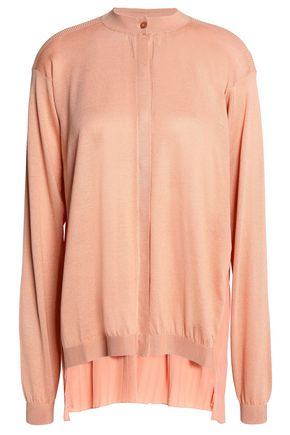 VIONNET Pleated crepe de chine-paneled silk and cotton-blend cardigan