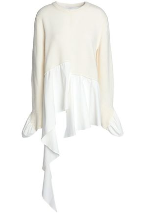 GOEN.J Asymmetric cotton-poplin and wool and cashmere-blend sweater
