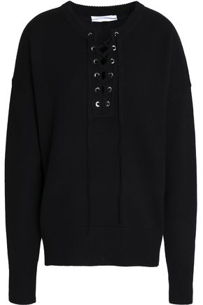ROBERT RODRIGUEZ Lace-up wool and cashmere-blend sweater