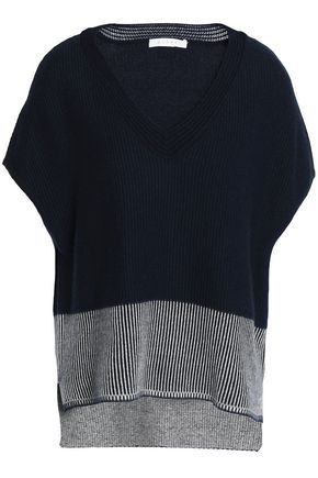 DUFFY Paneled ribbed cashmere sweater