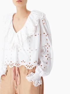 Flouncy V-neck blouse