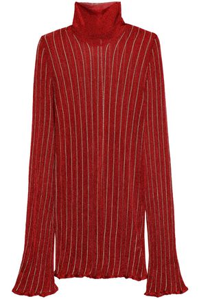 ELLERY Striped metallic turtleneck sweater