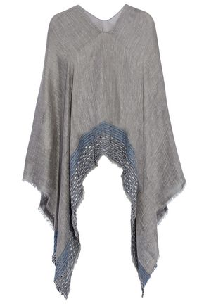 RAG & BONE Frayed embroidered gauze poncho