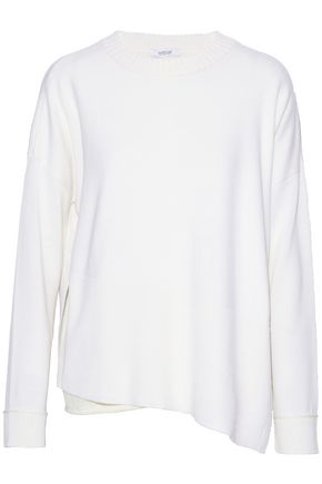DEREK LAM 10 CROSBY Asymmetric layered crepe de chine and wool-blend top