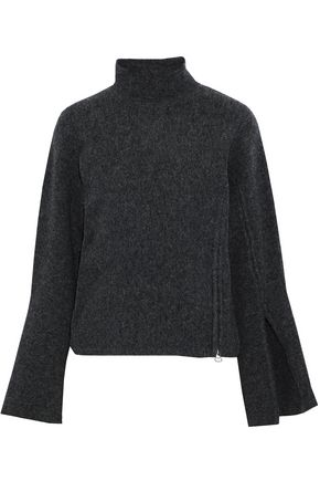 DEREK LAM 10 CROSBY Zip-embellished mélange wool-blend turtleneck sweater