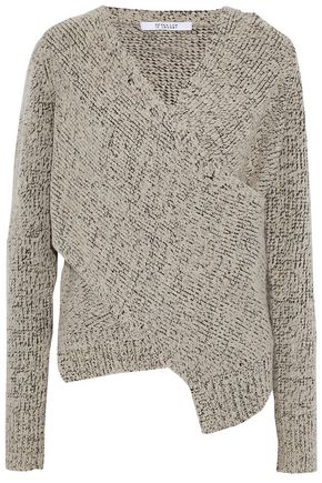 DEREK LAM 10 CROSBY Wrap-effect marled bouclé-knit sweater
