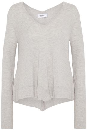 DEREK LAM 10 CROSBY Draped mélange wool-blend sweater