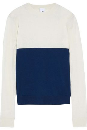 IRIS & INK Lyle two-tone silk and cashmere-blend sweater