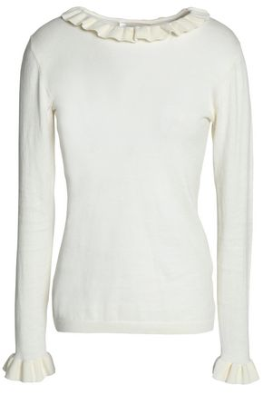 ZIMMERMANN Ruffle-trimmed cotton sweater