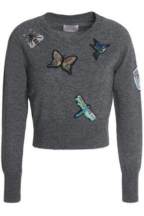 CINQ À SEPT Appliquéd wool-blend sweater