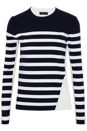 RAG & BONE Striped ribbed-knit merino wool-blend top