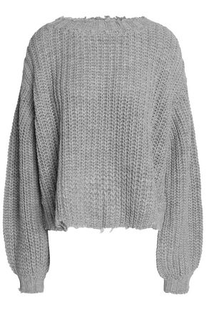 CINQ À SEPT Distressed open-knit sweater