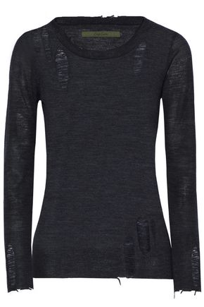 ENZA COSTA Distressed merino wool sweater