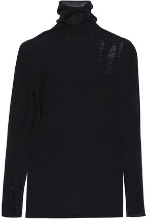 ENZA COSTA Distressed merino wool turtleneck sweater