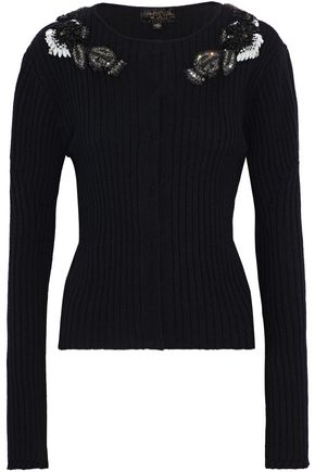 GIAMBATTISTA VALLI Embellished ribbed wool, silk and cashmere-blend cardigan