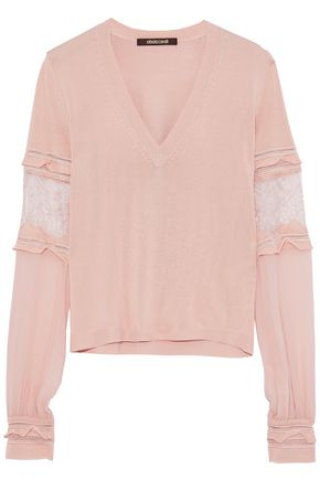 ROBERTO CAVALLI Lace-trimmed crepe de chine-paneled stretch-knit sweater