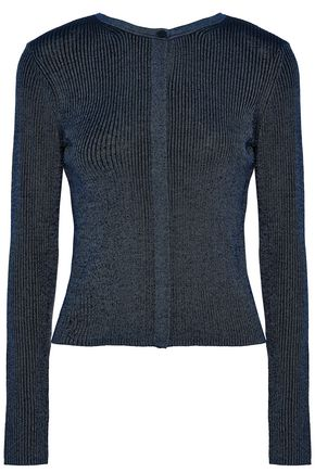 WOMAN METALLIC RIBBED-KNIT MERINO WOOL CARDIGAN NAVY
