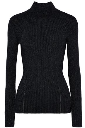 DIANE VON FURSTENBERG Metallic ribbed merino wool-blend turtleneck sweater
