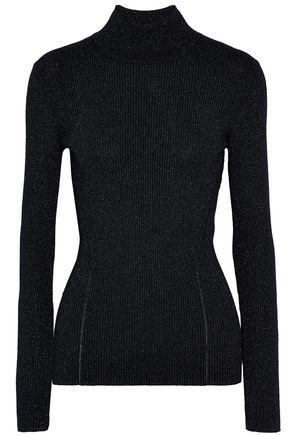DIANE VON FURSTENBERG Metallic ribbed merino wool-blend turtleneck sweater