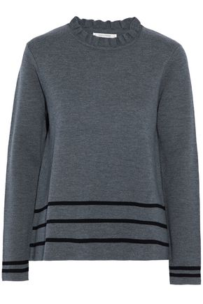 CHINTI AND PARKER Ruffle-trimmed intarsia wool sweater