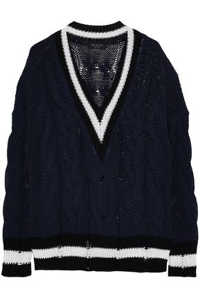 RAG & BONE Striped cable-knit cotton-blend sweater