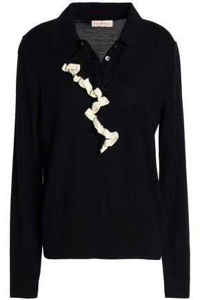 TORY BURCH Ruffle-trimmed merino wool sweater