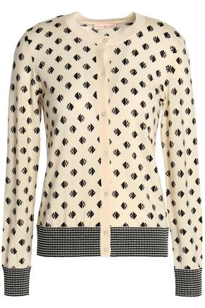 TORY BURCH Printed merino wool cardigan