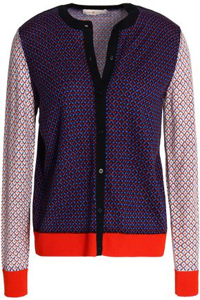 TORY BURCH Paneled merino wool cardigan