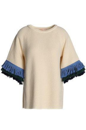 TORY BURCH Frayed wool and cotton-blend top