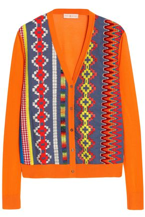 TORY BURCH Embroidered cotton-blend cardigan