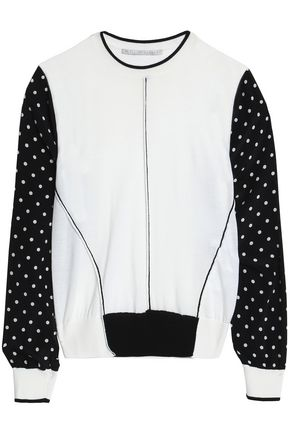 STELLA McCARTNEY Polka-dot silk crepe de chine-paneled wool top