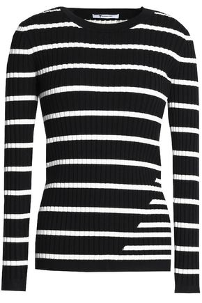 T by ALEXANDER WANG Striped stretch-knit top