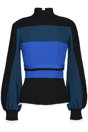 ROKSANDA Color-block ribbed-knit wool-blend turtleneck sweater