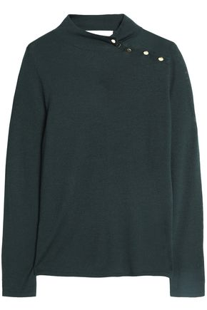 GOAT Button-detailed jersey turtleneck sweater