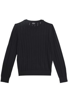 A.P.C. Pointelle-trimmed cotton, silk and cashmere-blend sweater