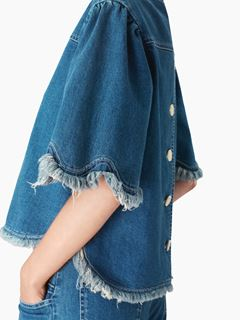 Fringed denim top
