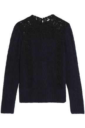 SEA Corded lace-paneled brushed cable-knit sweater