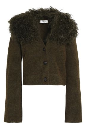 SEA Shearling-trimmed knitted cardigan
