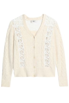 SEA Lace-paneled cable-knit cardigan