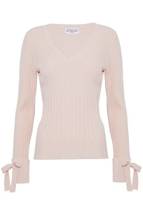 DEREK LAM 10 CROSBY Bow-embellished ribbed wool-blend sweater