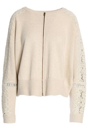 CHLOÉ Crochet-trimmed merino wool and cashmere-blend cardigan