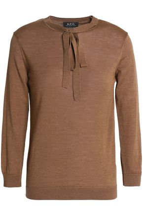 A.P.C. Pussy-bow merino wool, silk and alpaca-blend sweater