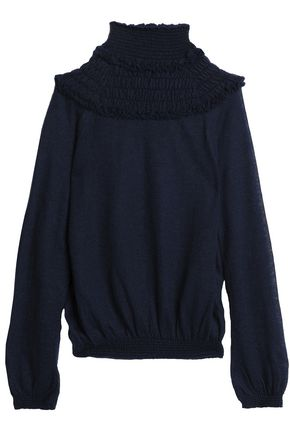 CHLOÉ Ruffle-trimmed shirred open-knit sweater